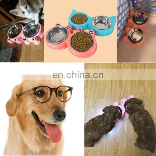 cheap wholesale price dropshipping 2 in 1 Stainless Steel Bowls, Anti-slippery Mat Cartoon Shape Detachable Pets Bowls (Pink)