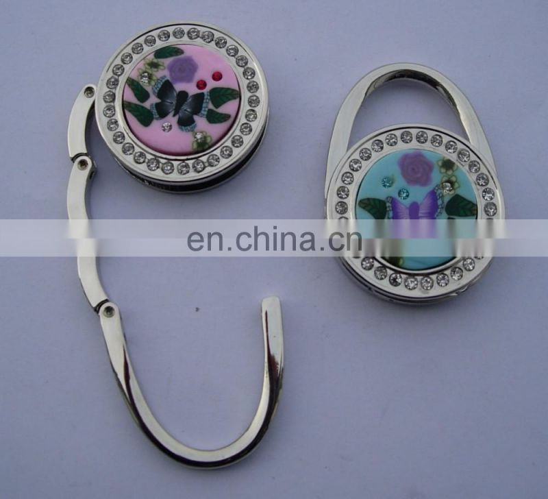 Beautiful Handbag Shape Metal Bag Hanger With Crystal Decoration