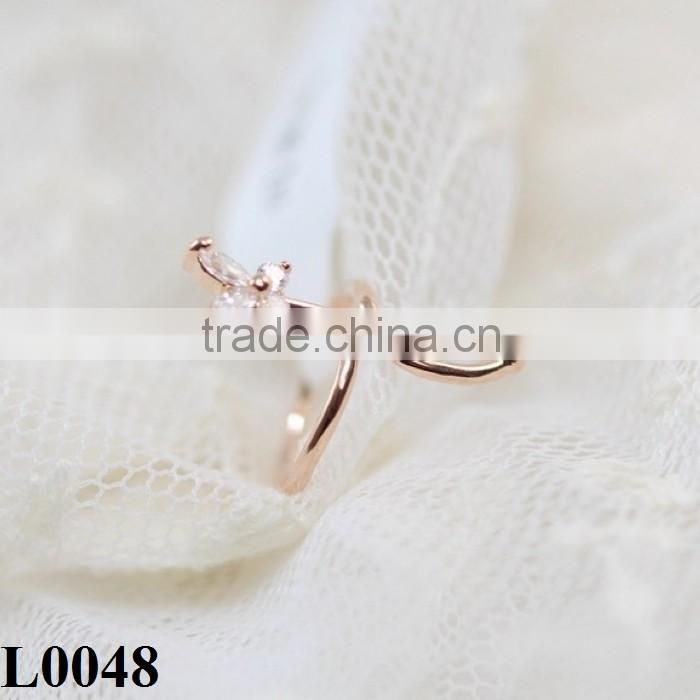 Fashion silver/gold plated white gem butterfly Finger Nail Ring Gold Plated Jewelry Nail Ring For women L0048