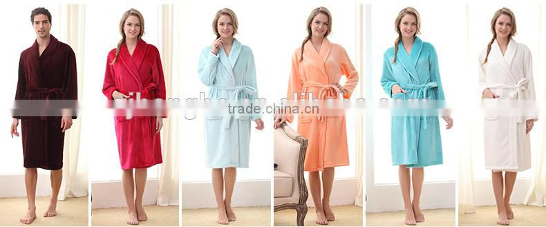 Coral fleece flannel bath gown robe