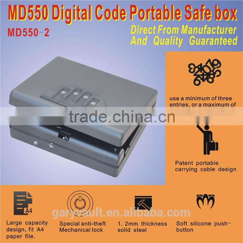 Wholesale- MD550 Micro Vault Digital Code Jewelry Car handgun pistol portable A4 file security storage steel Mini Safe Box
