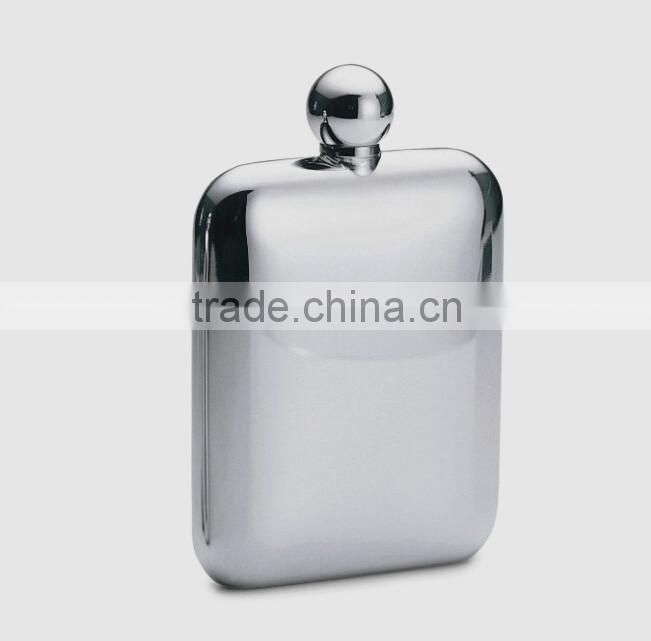 High quality Stainless steel 6oz flagon hip flask for men