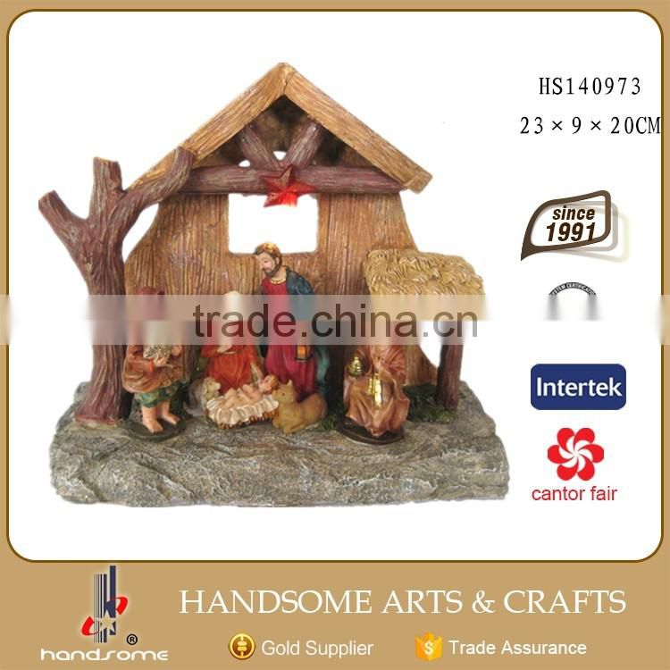 Resin LED House Statue Christmas Nativity Scene