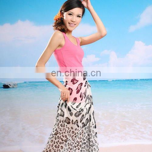 Beach sarong ladies' scarf pareo panther design super big size polyester voile scarf