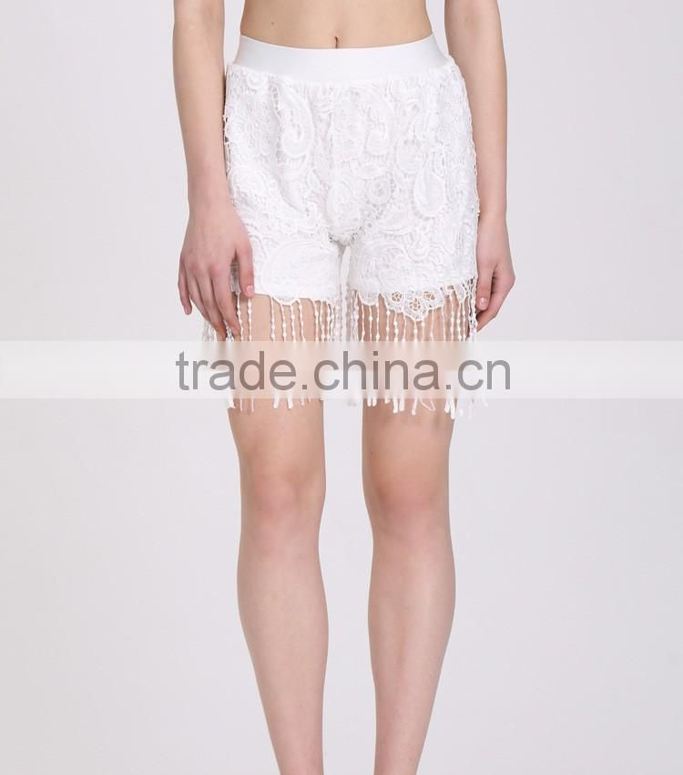 Fashion Ladies Women Sweet Lace Floral Elastic Waist Loose Casual Basic Shorts Pant