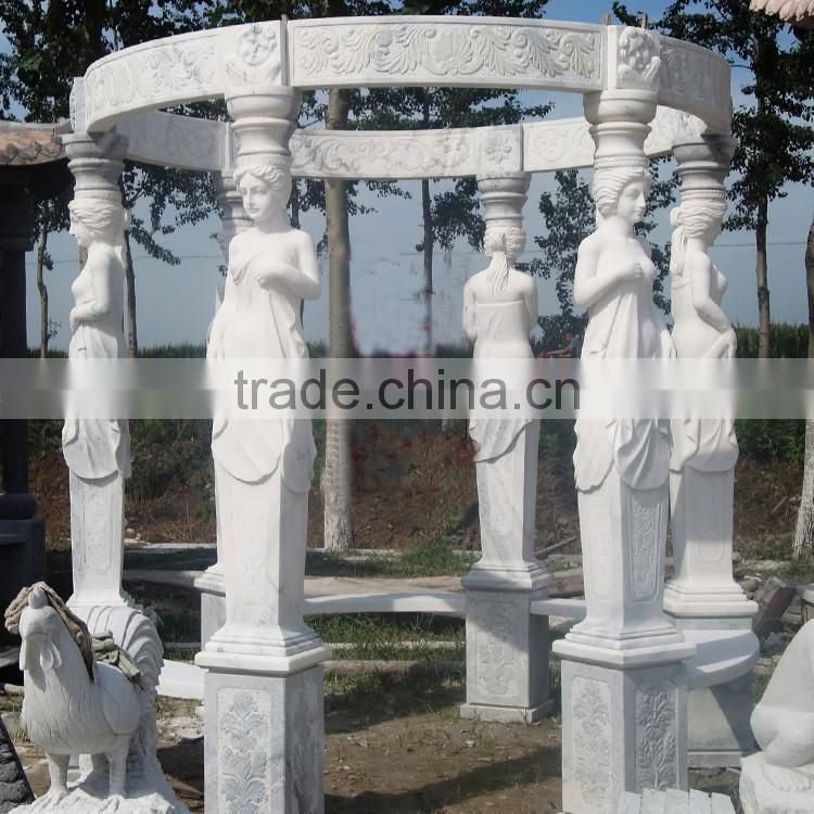 Cheap price carved garden marble gazebo sculpture NTMG-289S