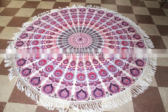 multi colored mandal tapestry , round tapestry ,round table cover , beach towel