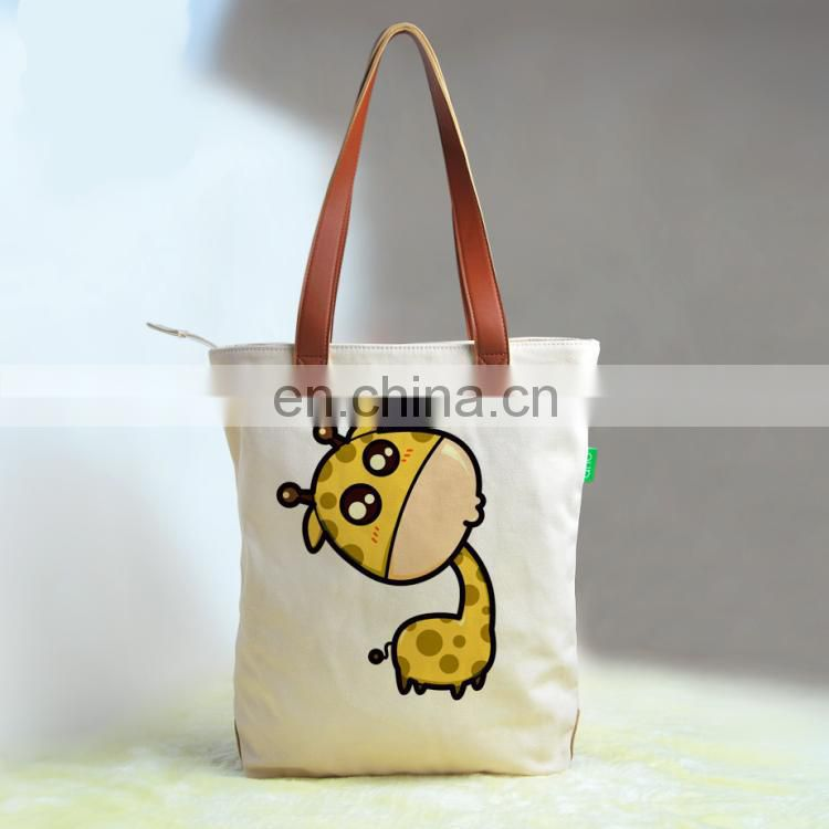 1 pcs Custom printed 16oz cotton canvas tote bag lether handles