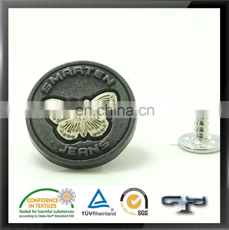 Custom Made alloy denim button for jeans