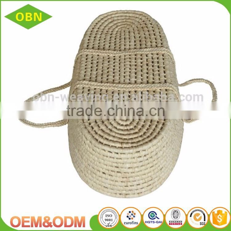 High-end customized corn husk straw baby mose basket with braided handles