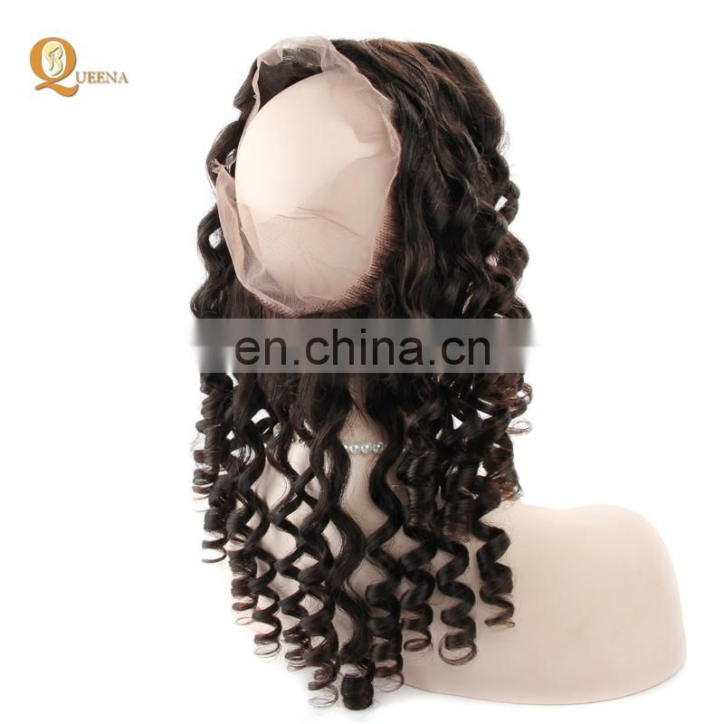 Queena 360 Closure Loose Wave Brazilian Virgin Human Hair Extensions 100% Unprocessed Natural Color
