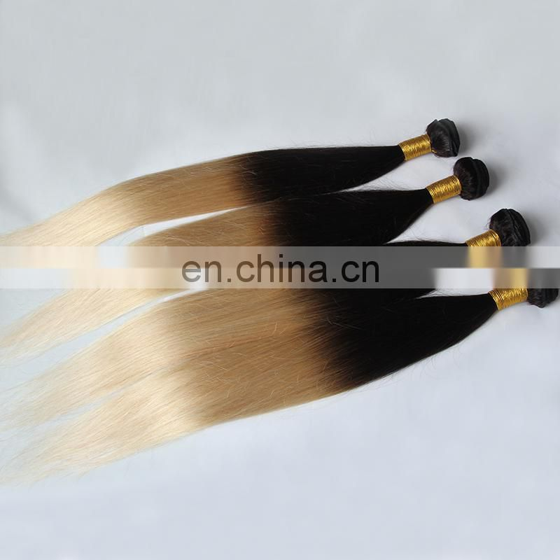 Queena T1b/613 blonde human hair weave bundles two color ombre hair extensions factory in xuchang