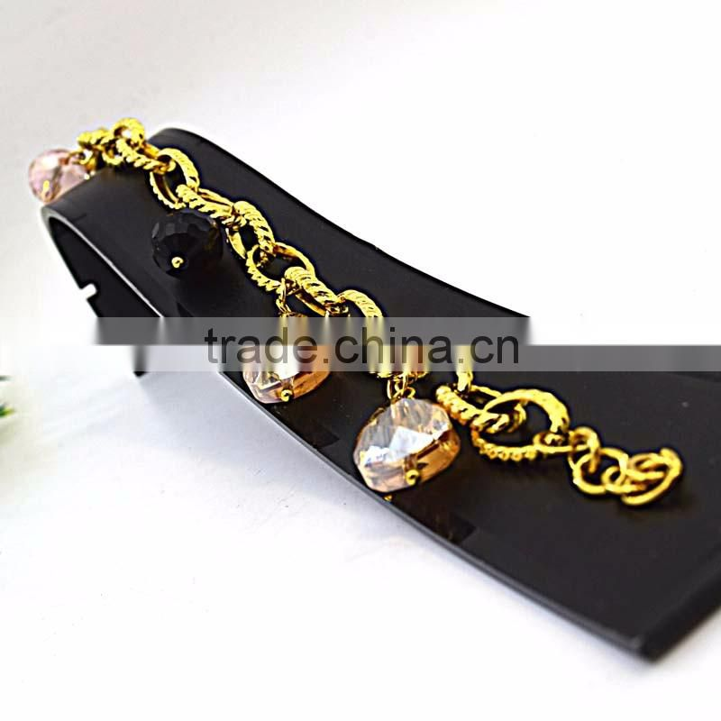 stainless steel jewelry crystal pendant gold hand chain fashion design