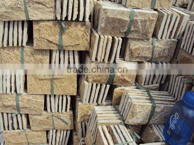 Yellow Sandstone Mushroom Stone Wall Cladding,Natural decotactive stone