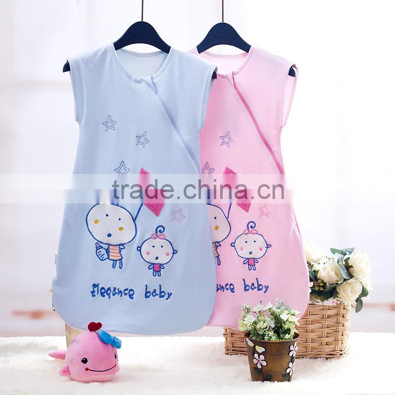fancy bear head embroidery baby sleeping suit without sleeve infant sleep blanket for swaddling free shipping