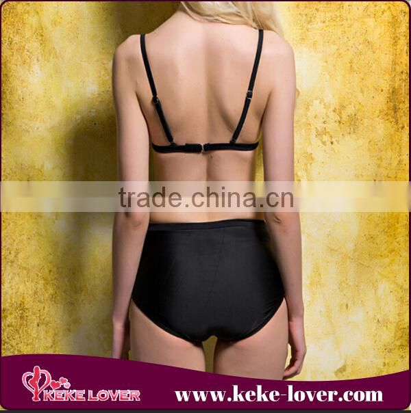 New design good quality women bikini summer fashion latex swimsuit beachwear sexy black two -piece swimwear wholesale