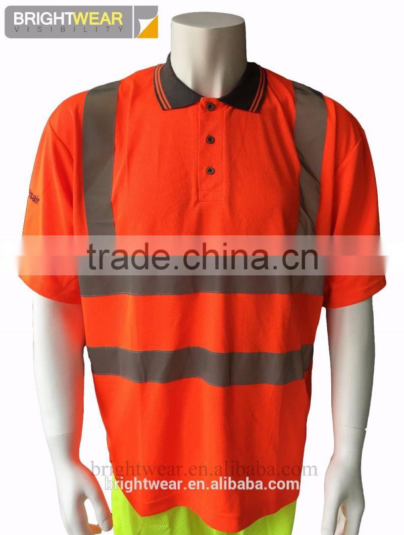 Mens Hi Vis Short Sleeve Orange Birdeye Fabric Reflective Tape