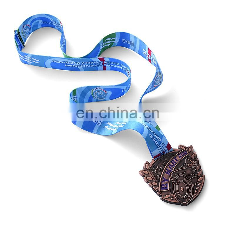 Custom gold medal sports metal medal hanger with ribbon