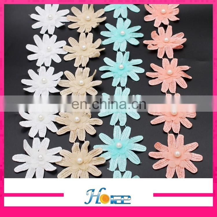 Hotselling China Supply colorful bridal beaded trims flower pearl lace trim