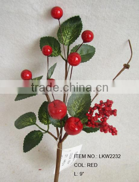 "high quality newest special artificial holly leaves and foam red berry pick 9"" branches pick for chrismas home decoration pick"