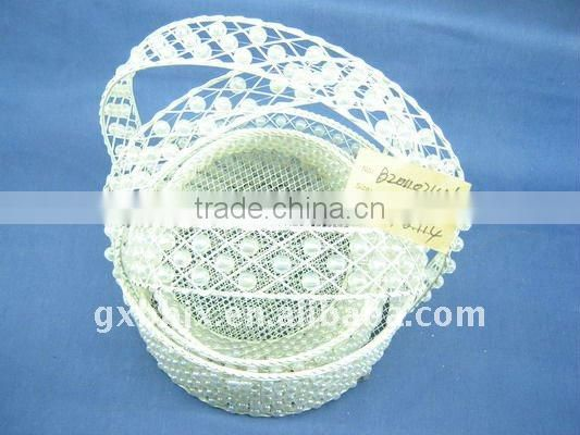 Round white wire decorative with pearl wedding baskets with handle