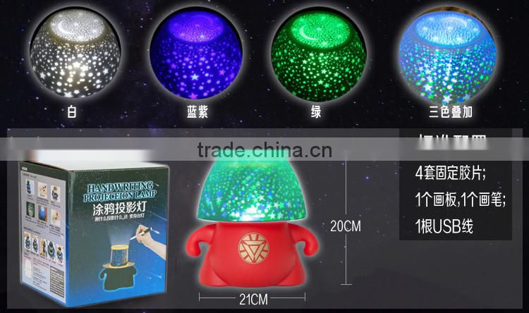 rotatable 3 colrs LED starry night projection lamp with iron man designed