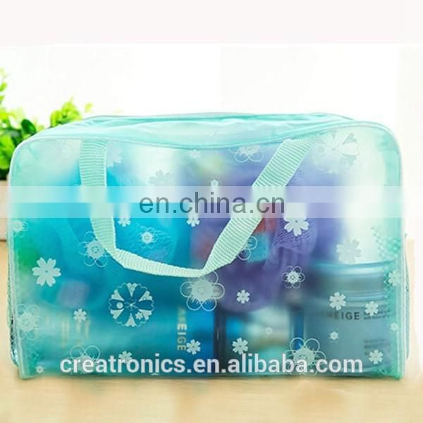 CR passed european test small elegant fresh floral small pvc bag waterproof cosmetic bag