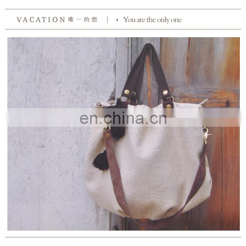 Leather strap white shopping canvas bags