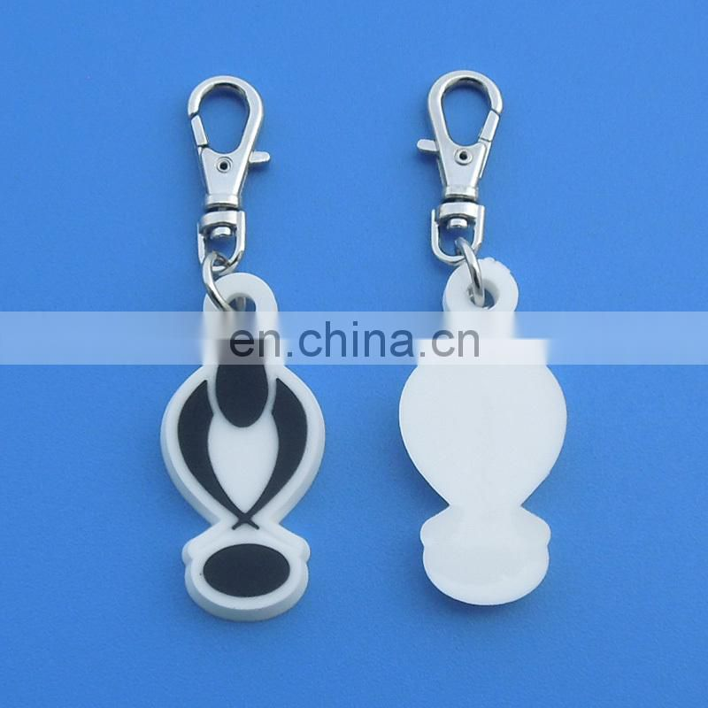 Customized double-sided 3D embossed logo rubber soft pvc zipper puller