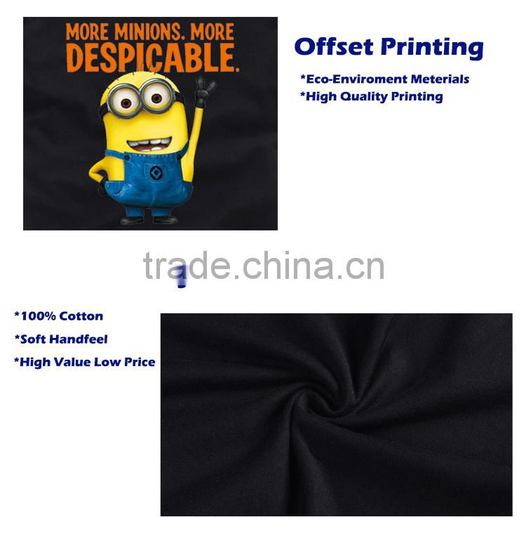 2015 Popular Fashion 100% Cotton Soft Cartoon Print Minions Lover Couple T-Shirt