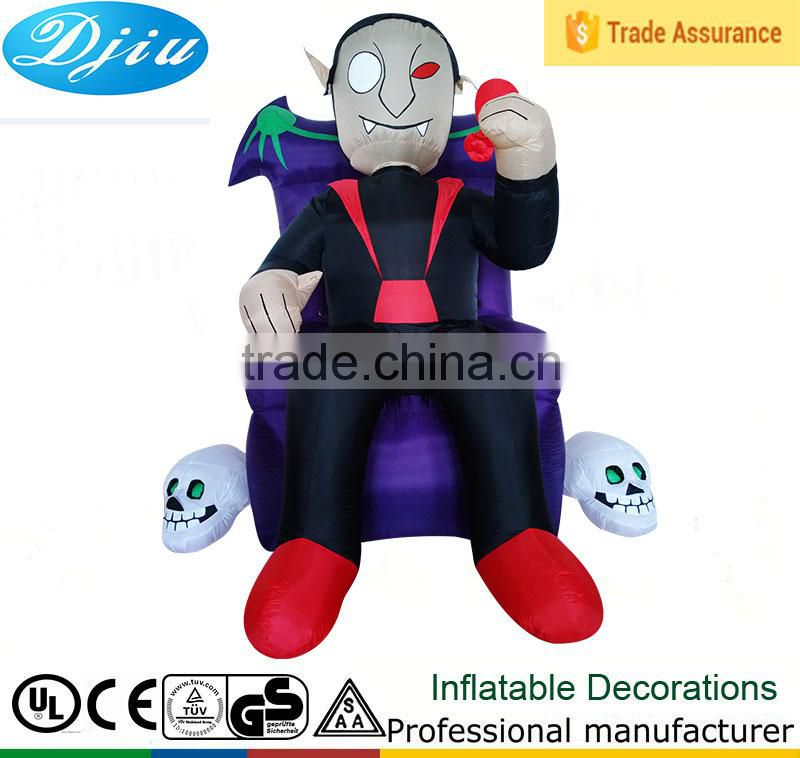 DJ-XT-88 inflatable halloween prince of the devils sit on chair outdoor halloween decoration
