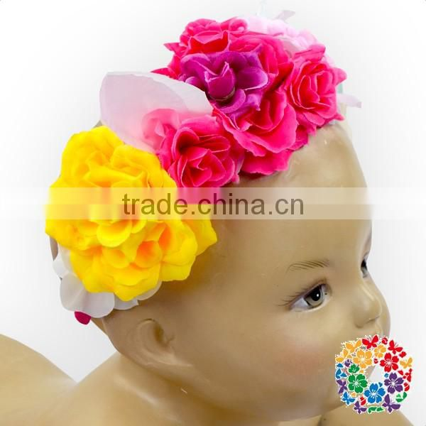 Yellow Red Blue Colorful Rose Flowers Garland Kids Party Wear Girls Head Band