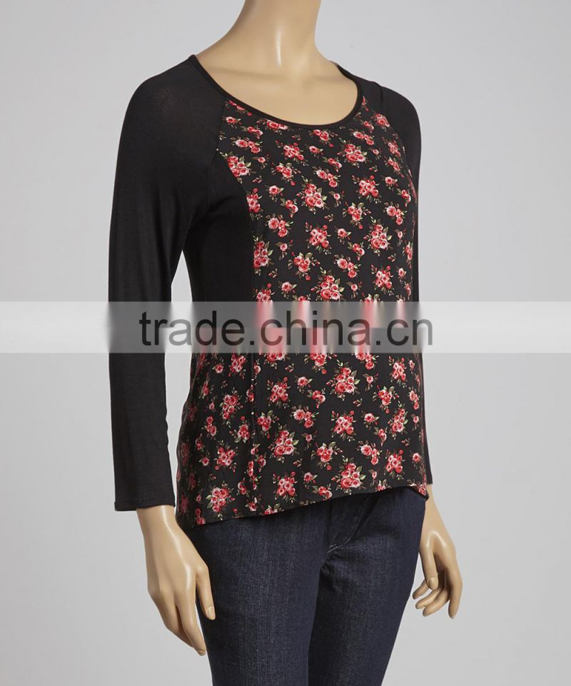 New Arrivals Maternity T-Shirt With Due Time Black And Coral Floral Maternity Tops Long Sleeve Women Clothes WT80817-61