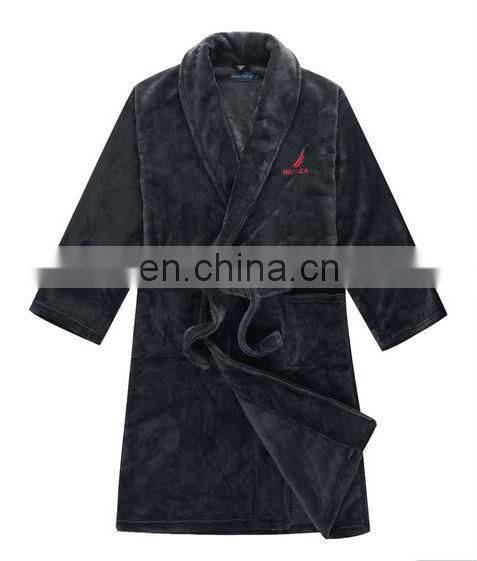 Soft polar coral fleece bath robe night robe