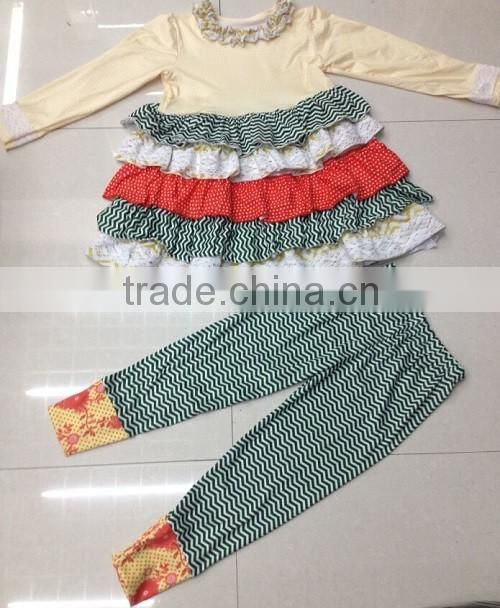 2016 fall style lovely baby girls dress top ruffle pant set adorable girls boutique clothing