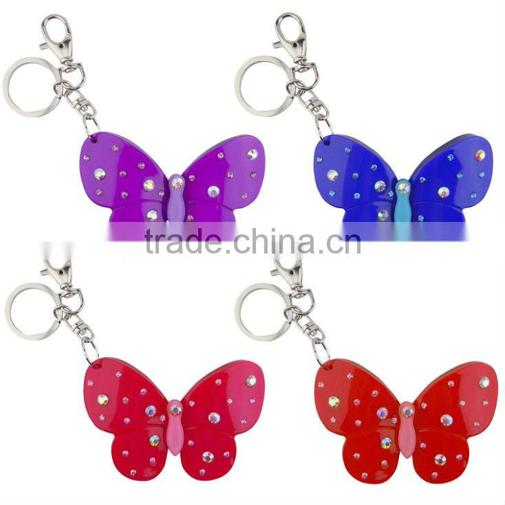 2013 Personalized Key Tag Buckle Ring Chain Holder Keychain Keyring Keytag Keybuckle Acrylic Butterfly Keyring