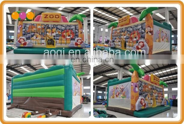 Jungle fun bouncer high quality inflatable bouncer jumping house for kid small bouncy playhouse
