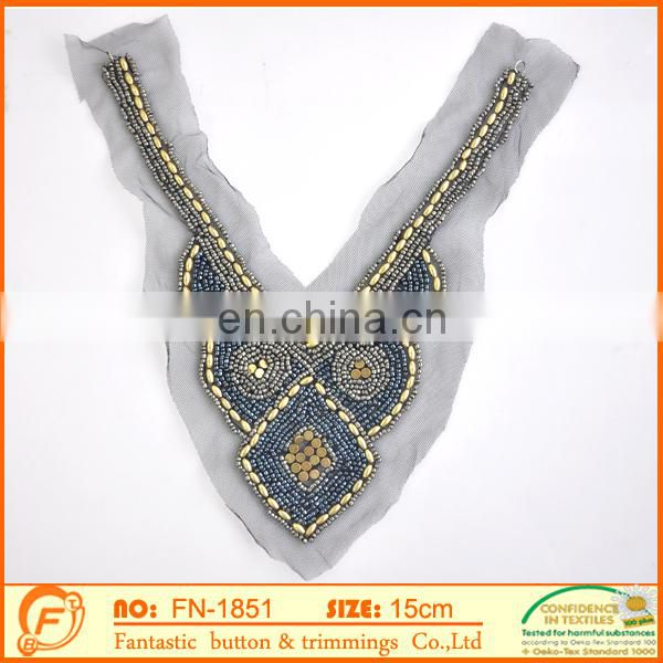 handmade beaded neck collor sew on garments
