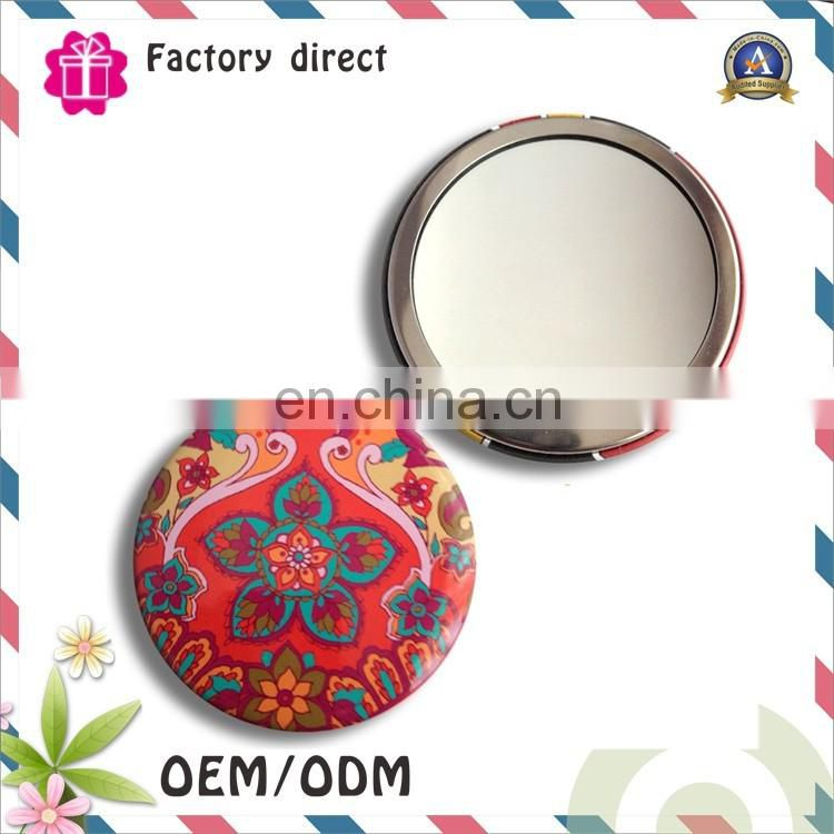 2016 new style single side circle pocket mirror embroidery fabric