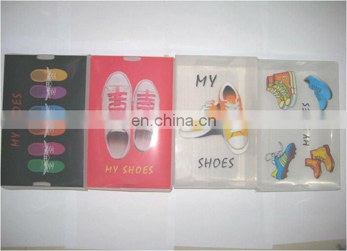 man clear plastic shoe box
