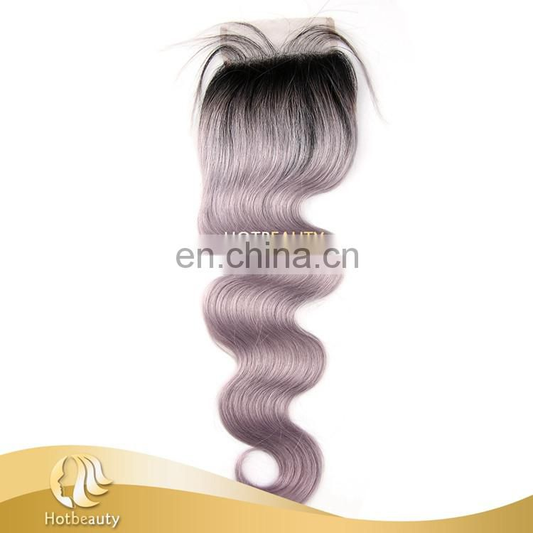 Fashion Grey Purple Color Free Part Lace Top Closure For Match The Grey Hair Weave