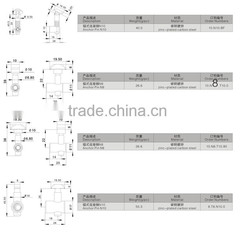 Jinli Fasteners Hardware Hot Sale Products China Zinc-Plated Carbon Steel Anchor Pin 4545