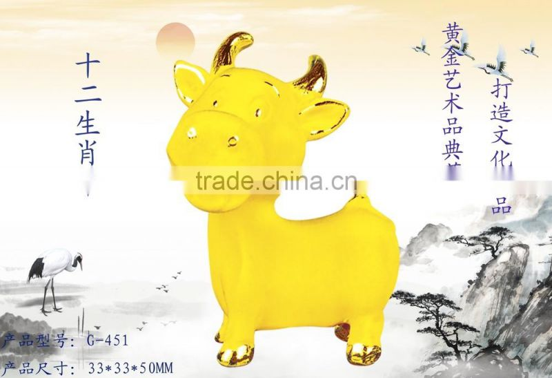 24k gold plated Decorative Cattle Figurine