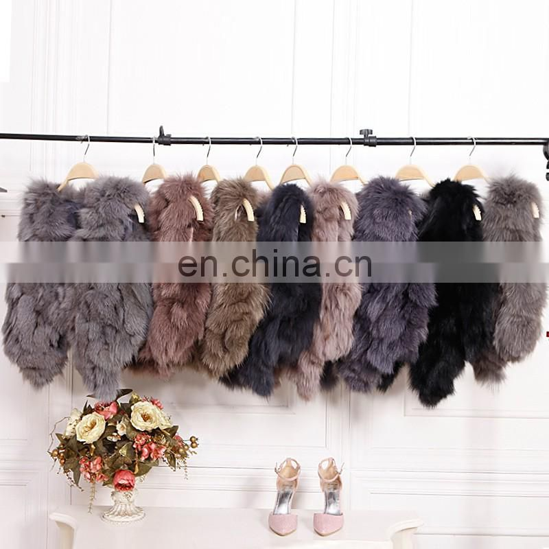 Fashion ladies fox fur vest short pattern real fur coat wholesale
