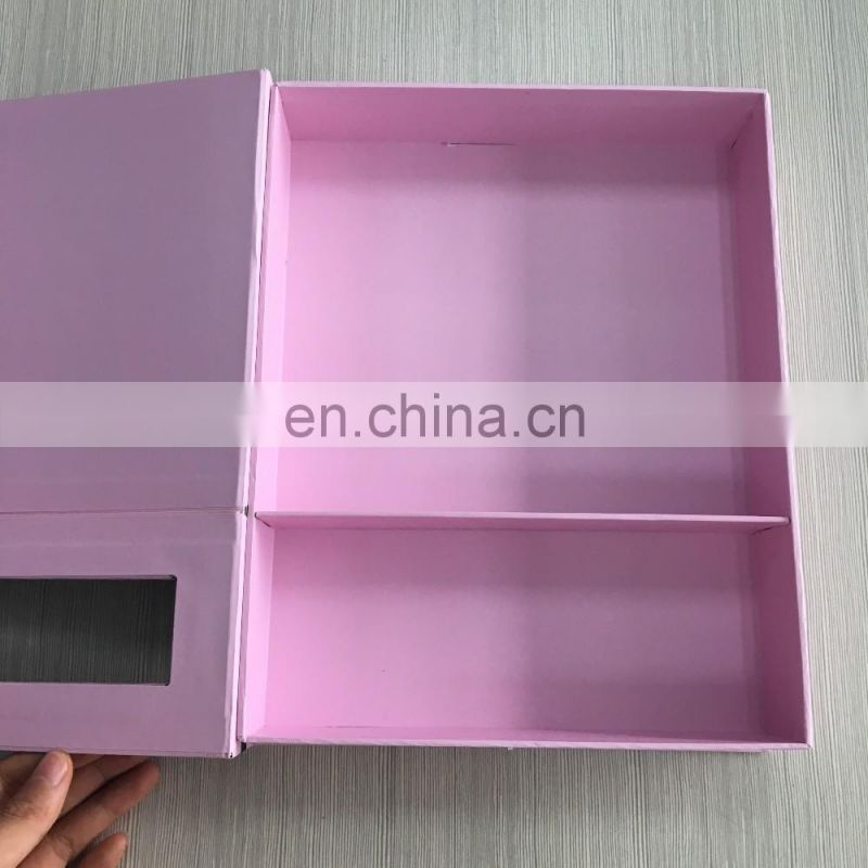 Romantic Customized Full Printing PVC Window Baby Pink hair Extension Box