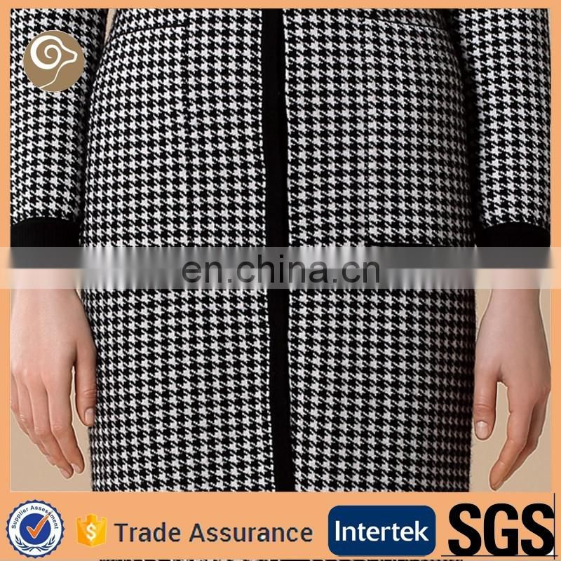 Knitted sweater women houndstooth long cardigan