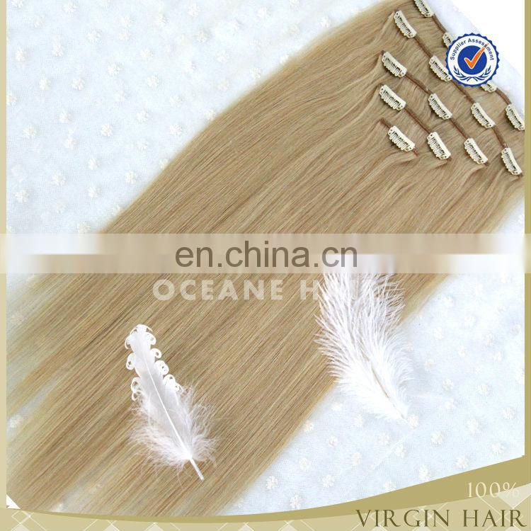 Natural cheap 100% human hair virgin 200 grams clip in hair extensions