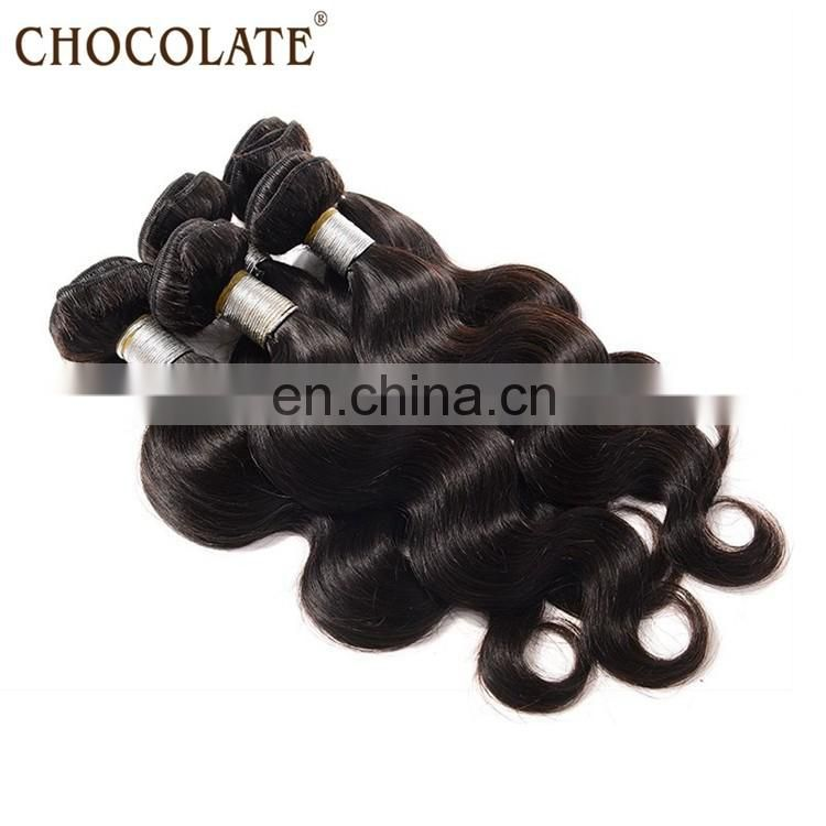 100% natural color body wave unprocessed hair bundles and wefts
