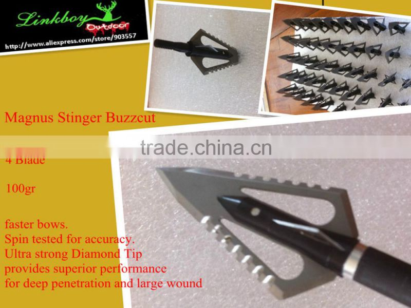 Magnus Stinger Buzzcut Fixed-Blade Broadheads Stainless steel 4 blades 100gr hunting LinkBoy