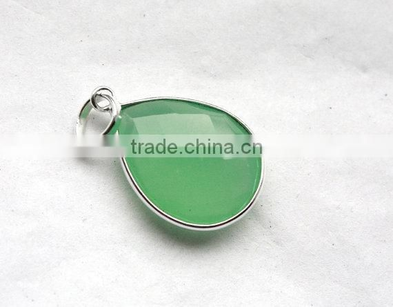 Indian Sterling Silver Jewelry, Latest Fashion Silver Green Onyx Gemstone Pendants. Sterling Silver Women Jewellery,